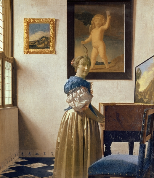 Giovane donna in piedi al virginale. 1670-1673
